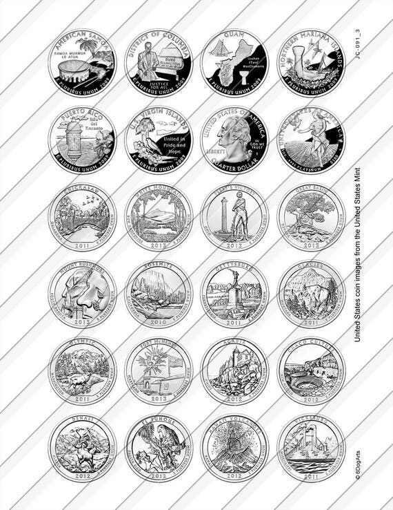 image about Printable State Quarter Collection Sheet called US Country Cash Electronic Collage Sheets Printable Downloads for Mini Bottle Caps Pendants Paper Crafts 20mm, 18mm, 16mm, 14mm Circles JC-091