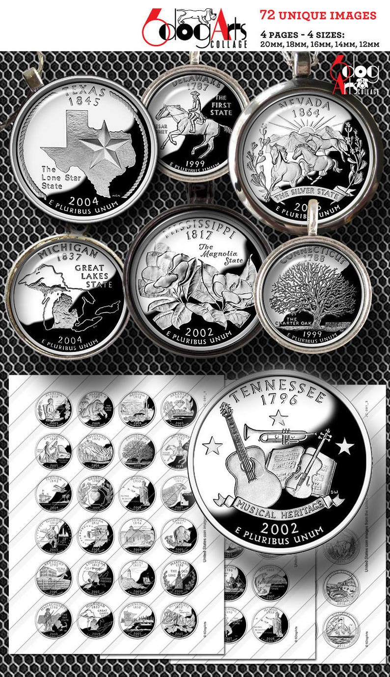 picture relating to Printable State Quarter Collection Sheet identified as US Country Cash Electronic Collage Sheets Printable Downloads for Mini Bottle Caps Pendants Paper Crafts 20mm, 18mm, 16mm, 14mm Circles JC-091
