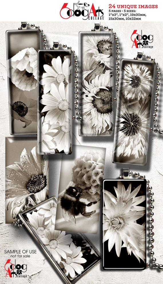 1x2 Vintage Flowers Digital Collage Sheets Printable Download for Domino Pendants Crafts 19x38mm 15x30mm 10x22mm Rectangles JC-119