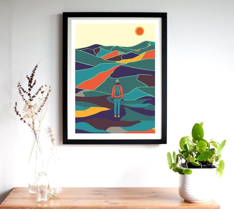 Mountain Relief Colourful Mountain Print Colourful image 0