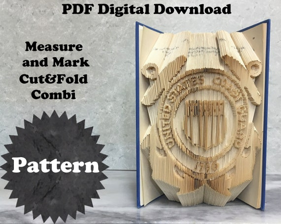 US Coast Guard Anchors Book Folding Pattern Cut/&Fold Combi Download 2 Sizes Tutorial with Practice Pattern