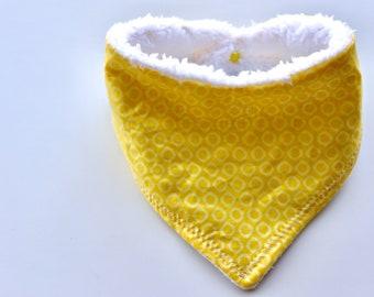 Yellow Polkadot and White Baby Bandana Bib