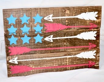 American Flag Arrow Pallet Wood Sign