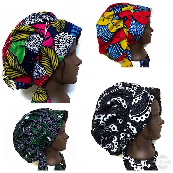 Adjustable Satin lined African print bonnet