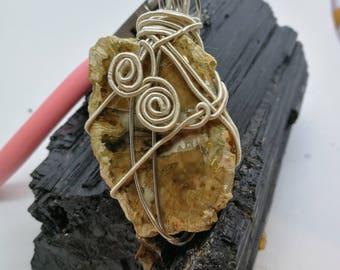Hand braided Legnofossile Pendant