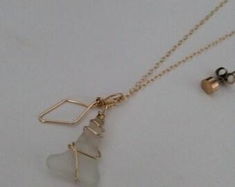 Beach Glass necklace /boho necklace /gold filled necklace /gold long necklace /diamond necklace
