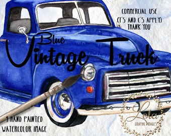 Vintage Truck Clipart Watercolor Truck Blue Truck Vehicle Vintage Graphics Sumblimation Image Hand Painted Watercolor Clipart Commercial PNG