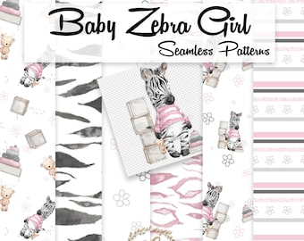 Watercolor Baby Girl Zebra Seamless Pattern   Zebra Print Graphics   Hand Painted   Toy Digital Paper   Watercolor Zebra Fabric   PNG Images