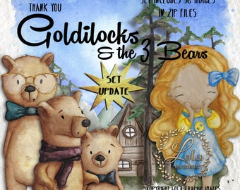 Goldilocks Clipart Fairy Tale Graphics Three Bears Teacher Images Story Forest Woods Preschool Hand Painted Watercolor Commercial Use PNG