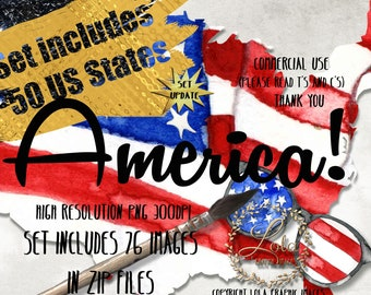Watercolor 4th of JULY Clipart Memorial Day State Maps American Usa Graphics Fireworks Flag Seamless Pattern Hand Painted Commercial Use PNG