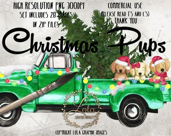 Cute Christmas Puppy Clipart Puppies Dog Graphics Truck Clip Art Watercolor Holiday Graphics Image Hand Painted Watercolor Commercial PNG