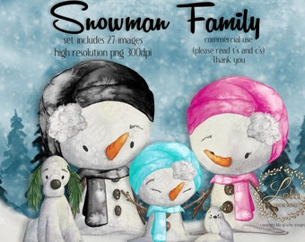 Cute Watercolor Snowman Clipart   Winter Images   Snowman Dog Cat   Xmas Graphics   Onederland   Hand Painted Watercolor   Commercial PNG