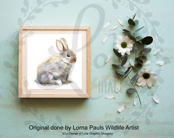 Bunny Fine Art INSTANT DOWNLOAD | Bunny Rabbit Nursery Art Watercolor | 300dpi JPEG