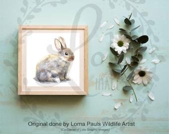 Bunny Fine Art INSTANT DOWNLOAD | Bunny Rabbit Nursery Art Watercolor | 300dpi JPEG