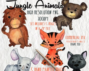 Jungle Baby Animals Digital Clipart | Orangutan Tiger Rhino Panther Bear | Hand Painted Watercolor | Personal&Commercial Use | PNG Images