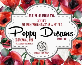 Red Poppy Clipart Hand Painted Poppies, Watercolor Poppies, Wedding Invitations, Boho, Pink Flower Frame Clip Art, PNG Image, Commercial Use
