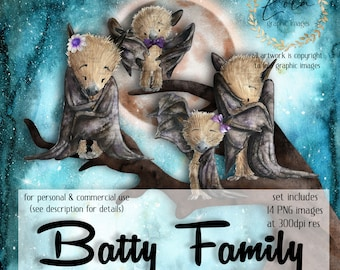 Watercolor Bat Family Clipart   Halloween Images   Flying Fox   Holidays Graphic   Rainbow   Tree   Hand Painted Watercolor   Commercial PNG