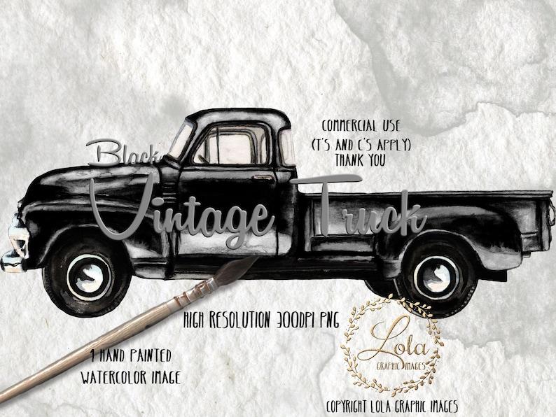 Black Vintage Truck Clipart Farm Trucks Transportation Vehicle Vintage Graphics Images Sublimation Hand Painted Watercolor Commercial Png