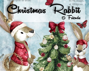 Watercolor Christmas Rabbit Clipart   Bunny Images   Wreath   Xmas Graphics   Butterfly   Tree   Hand Painted Watercolor   Commercial PNG