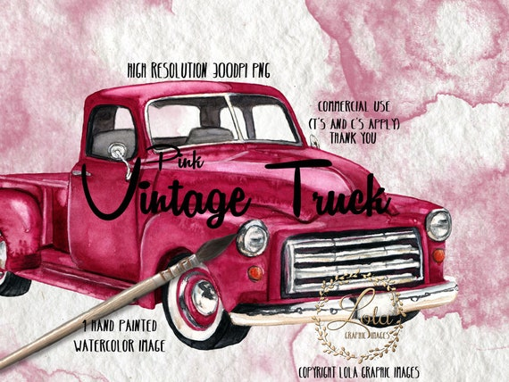 Hot Pink Vintage Truck Clipart Girly Trucks Fushia Chrome Vehicle Vintage Graphics Images Sublimation Hand Painted Watercolor Commercial Png