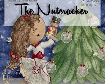 Cute Watercolor Nutcracker Clipart | Ballet Images | Christmas PNG | Xmas Graphics | Snow Globe | Hand Painted Watercolor | Commercial PNG
