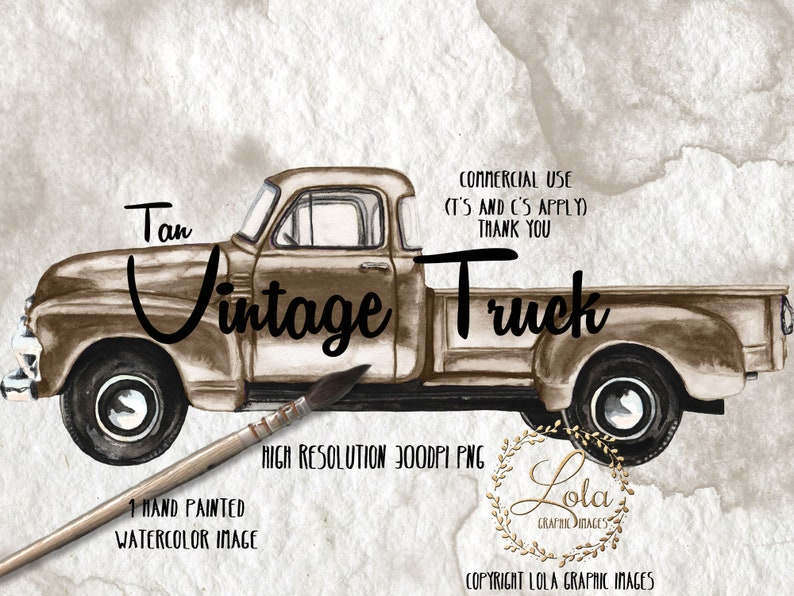 Tan Vintage Truck Clipart Farm Brown Truck Transportation Vehicle Vintage Graphics Images Sublimation Hand Painted Watercolor Commercial Png