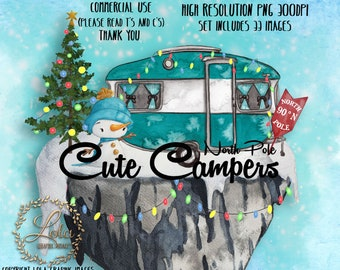 Cute North Pole Campers Clipart Graphic Christmas Camping Holiday Seamless Pattern Travel Snowman Hand Painted Watercolor Commercial PNG