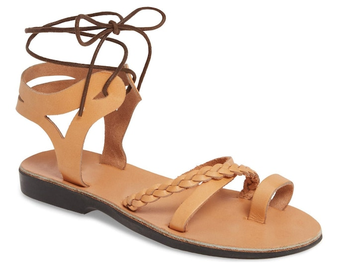 Women's Leather Lace-Up Sandals Tan Leather Sandals - New Collection