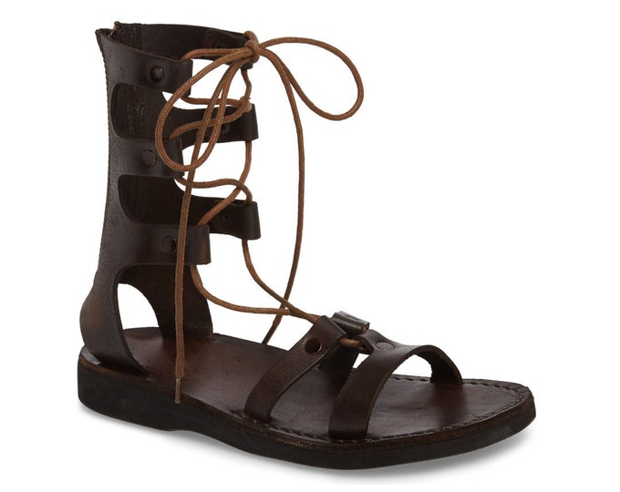 Women's Leather Lace-Up Sandals Brown Leather Sandals - New Collection 3