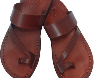 Brown leather sandals for women and men - Model 24 Unisex