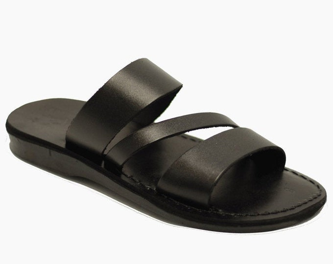 Black Leather Sandals Slippers For Men - Model 9 Black