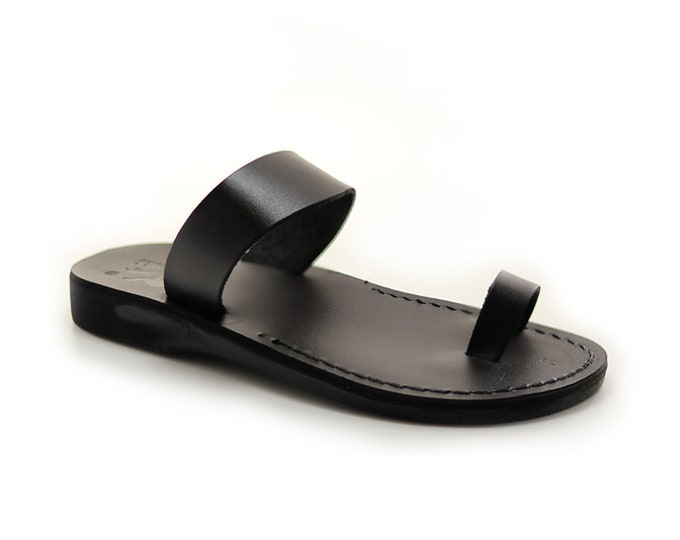 Leather Toe Ring Sandals, Black Leather Sandals for Women