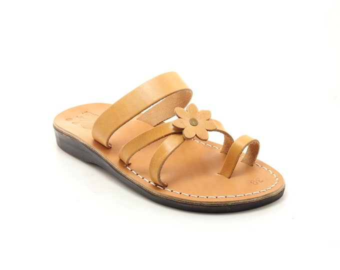 Greek Sandals Toe Ring Slippers, Leather Sandals For Women - Model 56