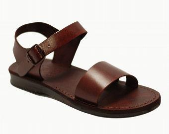 Jesus sandals Flat Open Toe Sandals in brown leather - Model 12 men