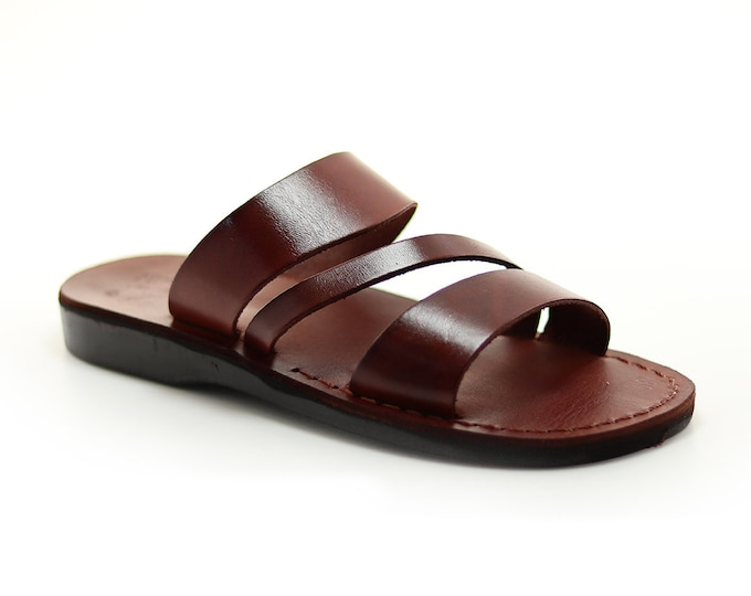 Brown Leather Sandals, Open Toe Slippers For Women - Model 9