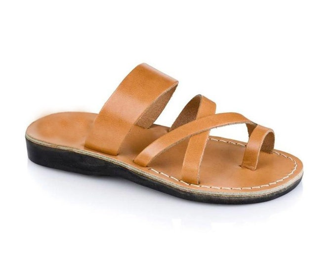 Handmade Tan leather thong  sandals - Model 8 Women Natural