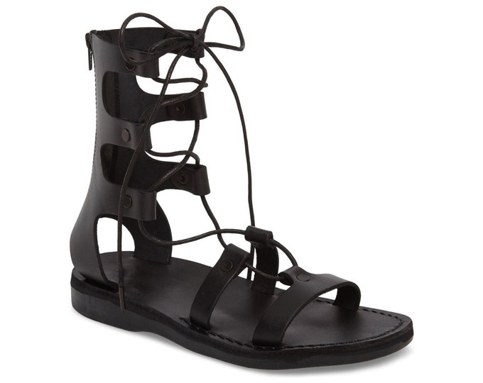 Women's Leather Lace-Up Sandals Black Leather Sandals - New Collection 3