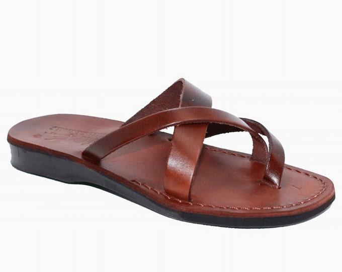 Brown leather sandals flip flops slipper - Model 26