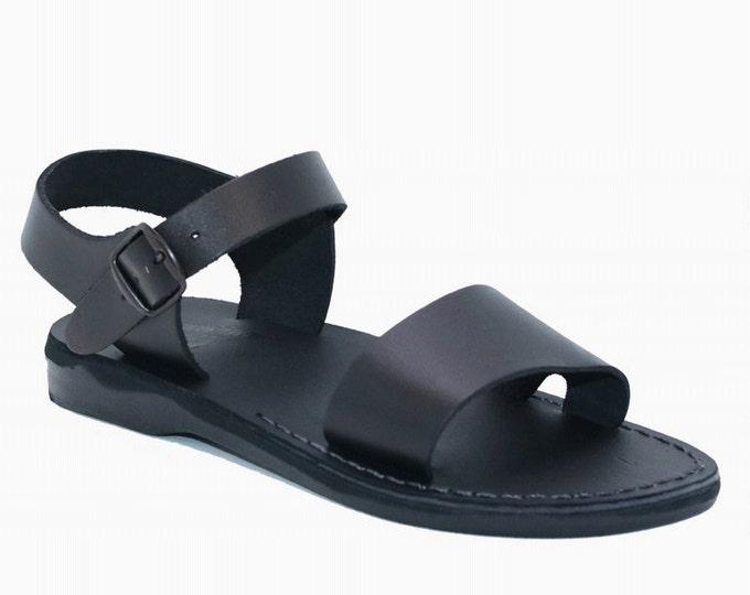 Black leather sandals, Greek sandals For Men - Model 12 Black