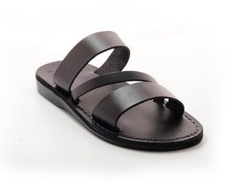 Black Leather Sandals Slippers For Men - Model 9 Black