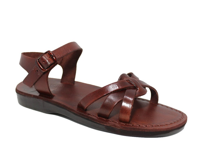 Greek sandals thong flat summer shoes - Model 61 Brown