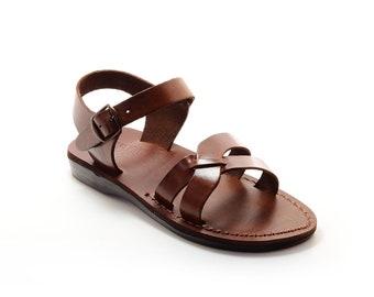 Brown Leather Sandals, Greek Flat Summer Shoes - Model 7