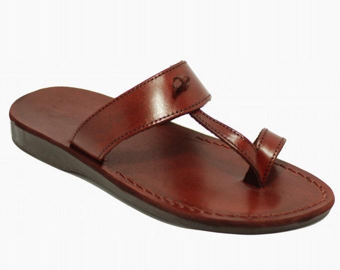 Greek sandals for men, Brown leather sandals flip flops slippers - Model 10 Men