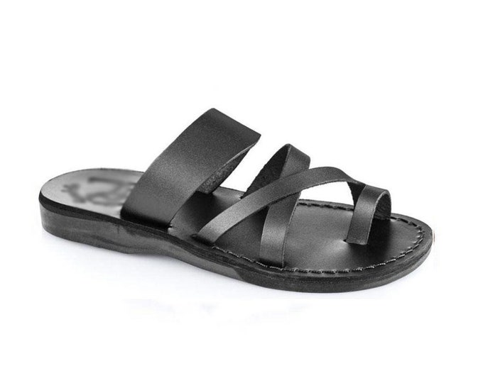Handmade black leather thong  sandals - Model 8 black