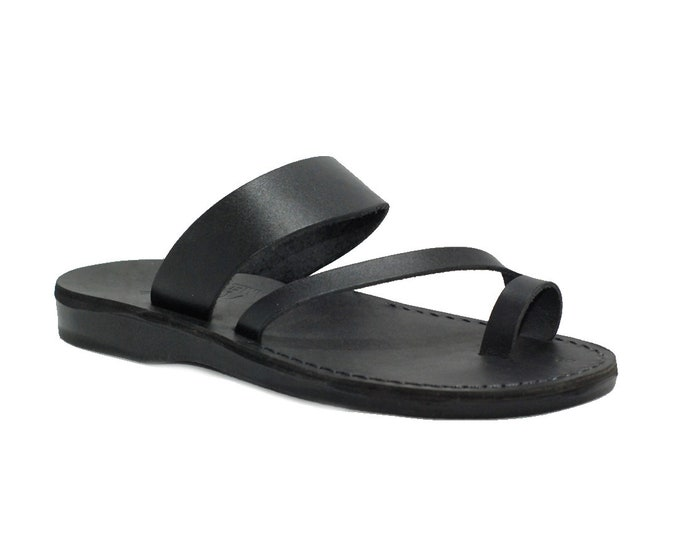 Black leather sandals for men - Model 24 black,
