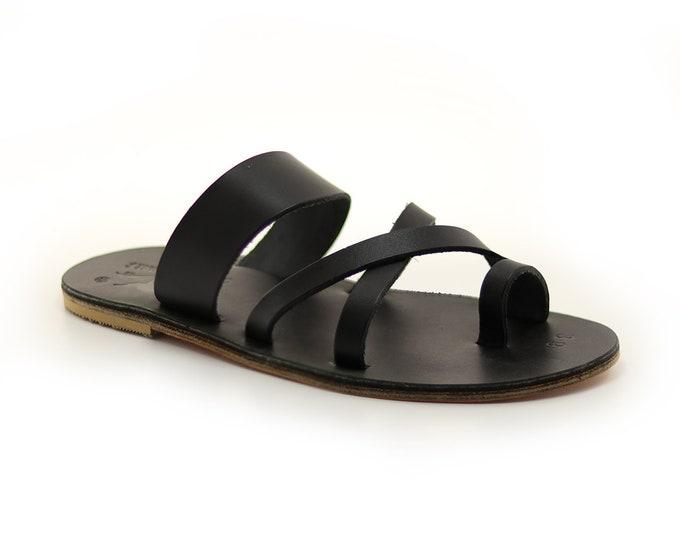 Man Flat Leather Sandals, Greek Handmade Black Leather Sandal.