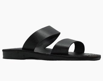 Black leather slides mens black sandals - Model 15 men