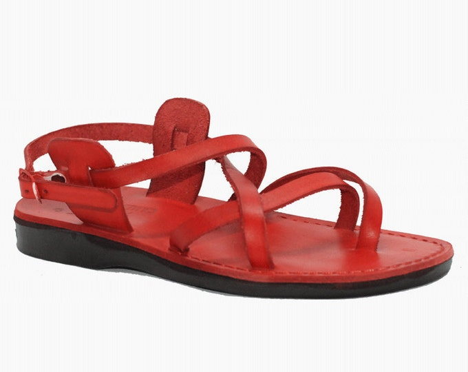 Handmade Red Leather Sandals - Model 3 Red