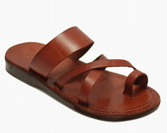 handmade Brown leather thong  sandals - Model 8