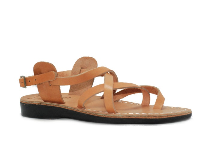 Tan Leather sandals for women - Model 3 natural